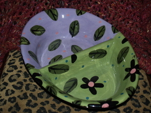 Divided Ceramic Dog Bowl ALL in ONE Flowers and Leaves