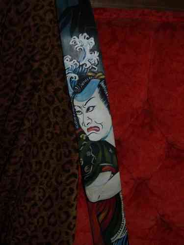 Hand painted leather samurai asian guitar strap