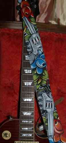 Hand painted leather tattoo guns roses guitar strap