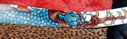 Hand painted leather tribal guitar strap