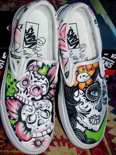 Custom Vans any size Day of the dead skater