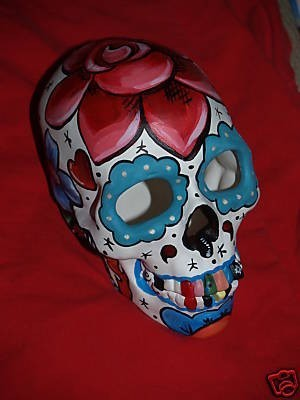 Hand painted Day of the Dead skull sculpture sparrows tattoo rose theme