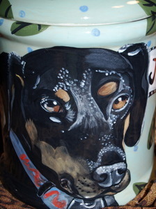 Large Canister Doberman Cookie Jar (any breed)