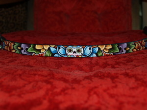 Day of the Dead SKULL leather Dog Collar (X Large) WIDE