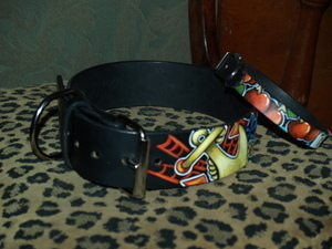 1X and 2X Tattoo Leather DOG collar NAUTICAL WIDE!