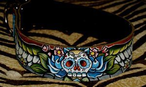 Day of the Dead SKULL leather Dog Collar (X-large/X-wide)