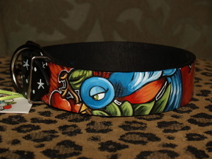 Tattoo Sparrow Cherry Black leather Collar X-LARGE Wide