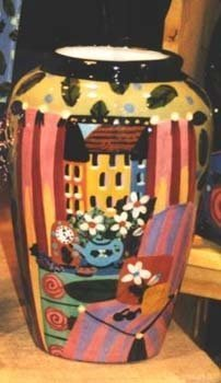 Room View hand painted pottery Vase 9 in
