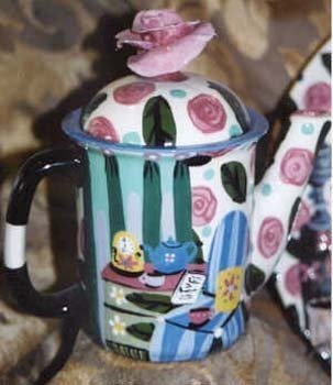Room View hand painted pottery Teapot