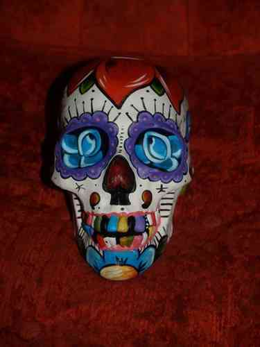 Hand painted Day of the Dead skull sculpture sparrows tattoo dagger rose theme