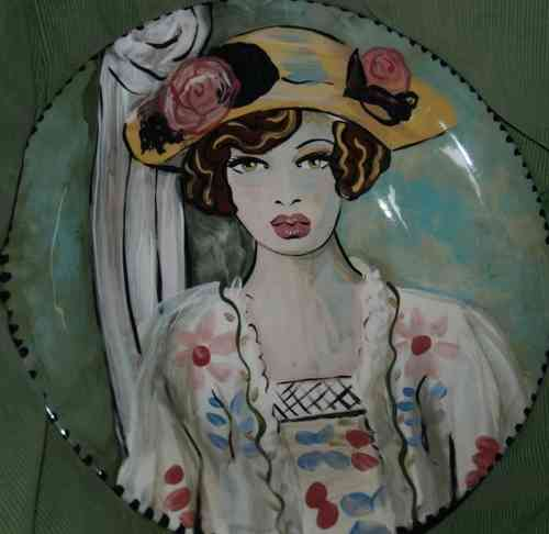 Tattoo gypsy hand painted pottery tile 4x4