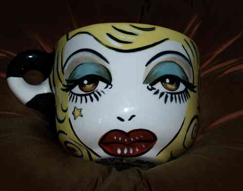 Pin up hand painted pottery oversized cappucino cup