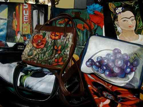 Custom Assorted hand painted leather handbags on new and vintage bags