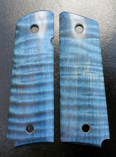 Stabilized Curly Maple, blue  SOLD