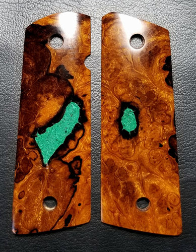 SLIM Desert Ironwood burl with Turquoise  SOLD