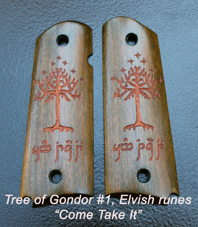 "Tree of Gondor #1, green dye, Elvish runes ""Come Take It""\\n\\n1/19/2016 8:56 PM"