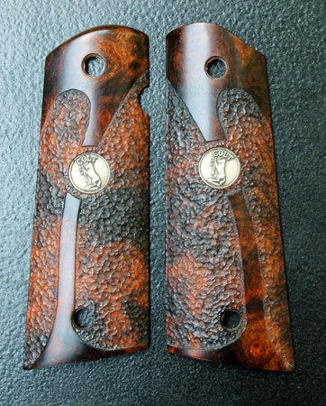 Desert Ironwood burl, custom pattern double cut-away stipple with Colt medallion inlays. Thanks, Steve R.!\\n\\n1/18/2016 5:04 PM
