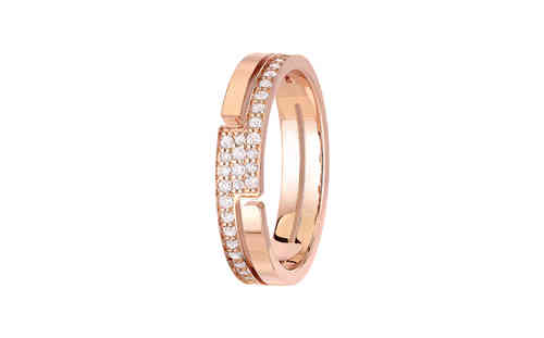 Seventies 18K Rose Gold Ring With Diamond