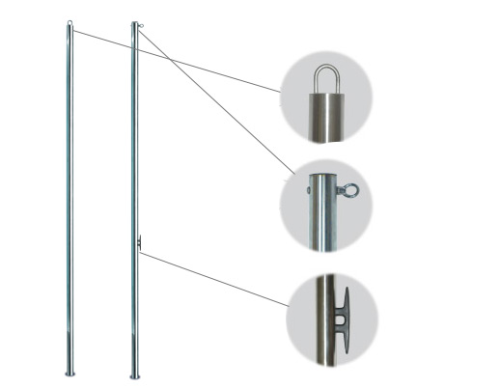 Backstroke Flag Poles w/ Eyelet & Cleat