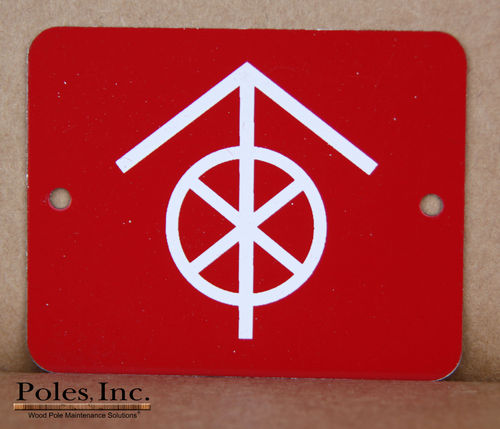 "Danger-Do Not Climb ""WITH CIRCLE"" ALUMINUM Red Tag with White Arrow and X (Bag of 100)"