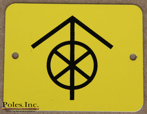 "Danger-Do Not Climb ""WITH CIRCLE"" ALUMINUM Yellow Tag with Black Arrow and X (Bag of 100)"