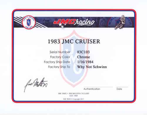 JMC® Certificate of Authentication