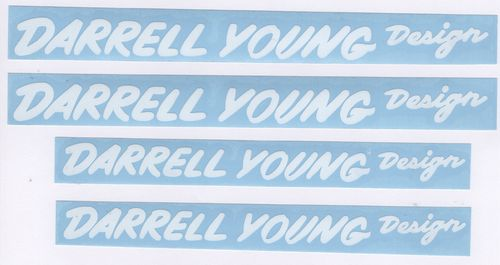 White JMC® Racing BMX Vinyl Rub-on Darrell Young Design Decal  set