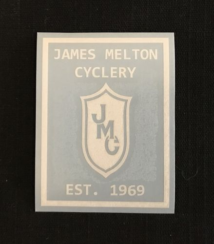White 1969 James Melton Cyclery Commemorative Decal