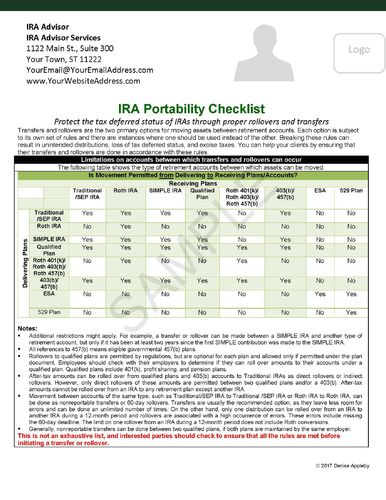 IRA Rollover/Transfer Checklist for CPAs- Send to your CPA network. PDF Version