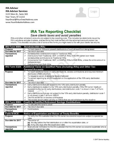 IRA Tax Reporting Checklist - Send to your CPA network. HARD COPIES CUSTOMIZED-Glossy card stock