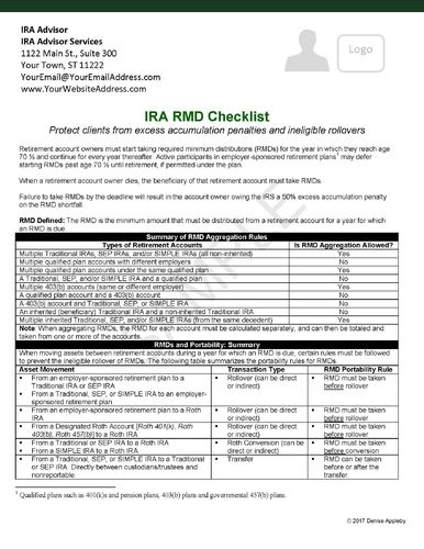 IRA RMD Checklist Checklist - Send to your CPA network. HARD COPIES CUSTOMIZED-Glossy card stock