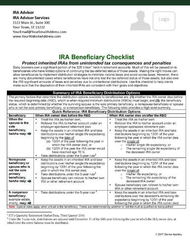 IRA Beneficiary Checklist for-- Send to your CPA network. HARD COPIES CUSTOMIZED-Glossy card stock