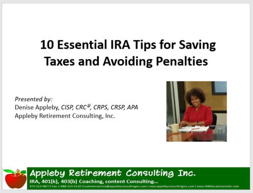1Hr Podcast: 10 Essential IRA Tips for Helping Clients Save Taxes and Avoid Penalties. Nov 2017
