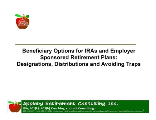 Recording of Webinar/Podcast:-Beneficiary Options for IRA/ Employer Retirement Plans:MP3 N MP4 downl
