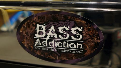 "BASS ADDICTION CAMO STICKER-SMALL 7"" x 4"""