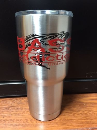 BASS ADDICTION 30oz. STAINLESS STEEL TUMBLER