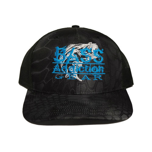 BASS ADDICTION GEAR HAT- SNAP BACK- KRYPTEK TYPHON BLACK