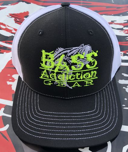 BASS ADDICTION GEAR HAT- SNAP BACK- BLACK/WHITE W/ NEON YELLOW LOGO