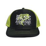 BASS ADDICTION GEAR HAT- SNAP BACK- CHARCOAL/NEON YELLOW