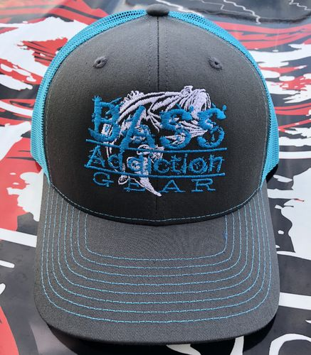 BASS ADDICTION GEAR HAT- SNAP BACK- CHARCOAL/NEON BLUE