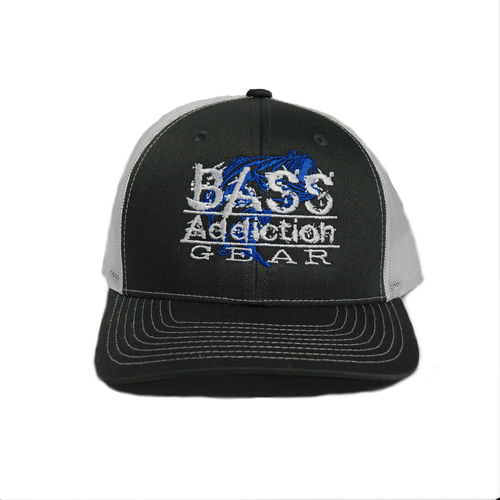 BASS ADDICTION GEAR HAT- SNAP BACK- CHARCOAL/WHITE