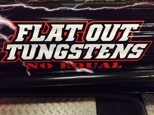 "FLAT OUT TUNGSTEN TRUCK AND BOAT STICKER- 8"" X 4"""