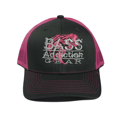 BASS ADDICTION GEAR HAT- SNAP BACK- CHARCOAL/ PINK