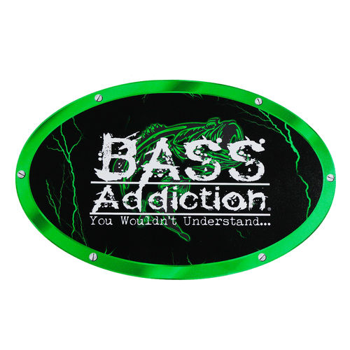 "BASS ADDICTION GREEN 20"" X 12"" BOAT CARPET DECAL"