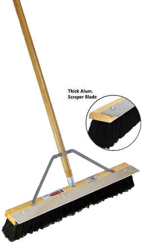 "24"" Black Plastic Floor Brush w/ Eliminator Blade"