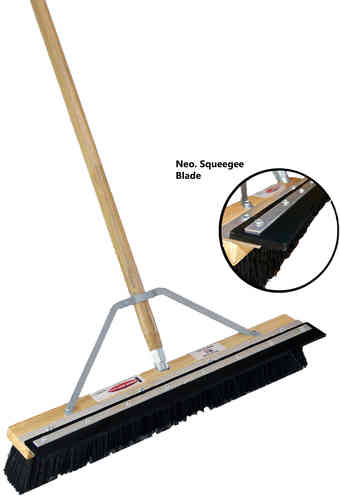 "24"" Black Plastic Floor Brush w/ Squeegee Blade"