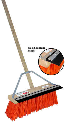"16"" Orange Plastic Street Broom w/ Squeegee Blade"