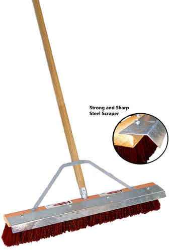 "24"" Maroon Plastic Floor Brush w/ Steel Blade (Reversible)"