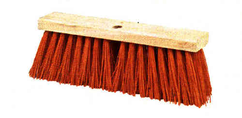 "16"" Orange Plastic Street Broom"