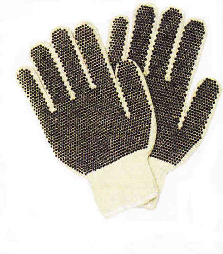 String Knit Natural Color with Black PVC Dots
